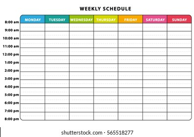Weekly planner. Multicolored vector schedule.