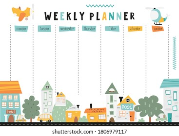Weekly planner with nordic little town in doodle cartoon style. Kids schedule design template with cityscape. Vector illustration.