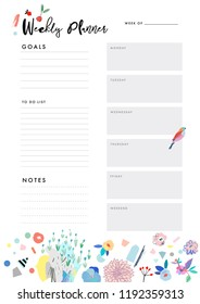 Weekly Planner. Organizer and Schedule with place for Notes, Goals and To Do List. Template design. Vector