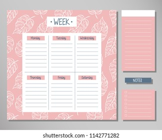 Weekly planner with pink leaf elements. Schedule design template