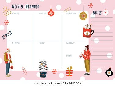 Weekly planner template. Organizer and schedule with place for Notes. Vector illustration. Cute and trendy. Christmas style - Shutterstock ID 1172481445