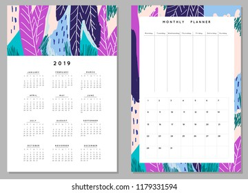 Weekly Planner Template. Organizer and Schedule with Notes and Numbers. Flowers and other nature elements. Vector. Isolated