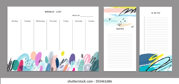 Weekly Planner Template. Organizer and Schedule with Notes and To Do List. Vector. Isolated