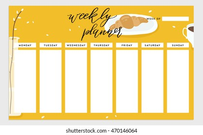 Weekly planner template. Organizer and schedule. Vector isolated illustration. Cute and trendy food theme concept