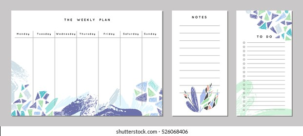 Weekly Planner Template. Organizer and Schedule with Notes and To Do List with nature elements. Vector. Isolated