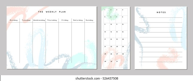 Weekly Planner Template. Organizer and Schedule with Notes and Numbers. Dry brush style. Vector. Isolated