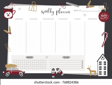 Weekly planner template. Organizer and schedule with place for Notes. Vector illustration. Christmas and winter design