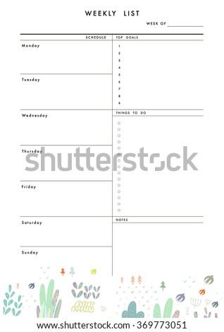 weekly planner template organizer schedule place のベクター画像素材