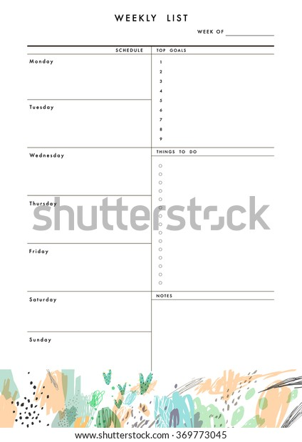 Weekly Planner Template Organizer Schedule Place Stock