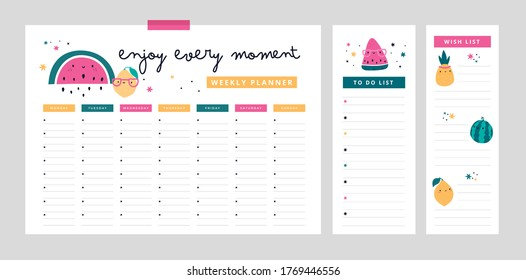 Weekly planner, wish list, to do list in cartoon flat style with cute fruits and motivation phrase. Follow your dreams. Back to school digital prints. Flat lay, organizer mock up