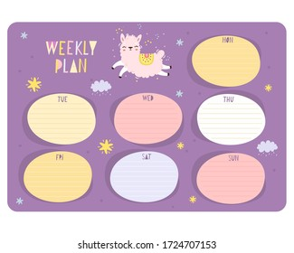 weekly planning vector template. Cute diary, gentle design with animals. glider. notebook for notes. pages for writing