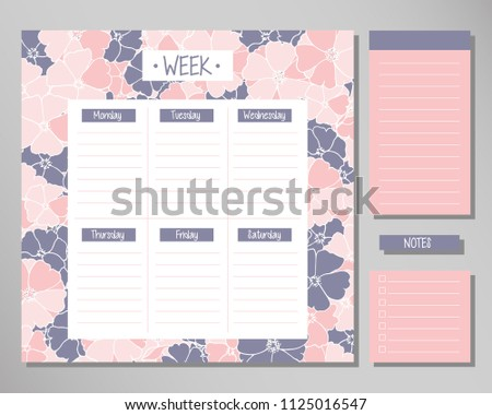 Weekly Schedule Blank Routine Planner Vector Template