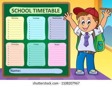 Weekly school timetable design 6 - eps10 vector illustration.