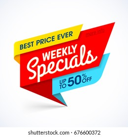 Weekly Specials sale banner template, special offer, best price ever. Vector illustration