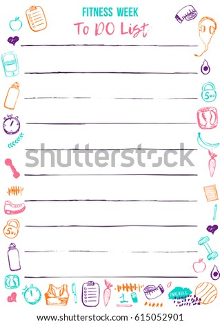 weekly sport planner template daily fitness stock vector royalty