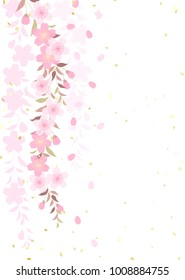 Weeping cherry tree Japanese style background