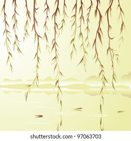 Weeping willow above the river. Vector illustration