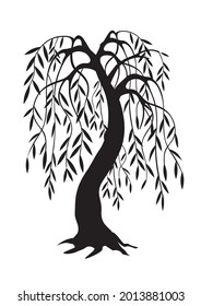 Weeping Willow tree, black silhouette. Illustration of melancholy tree motive. Isolated on white background. Vector available.