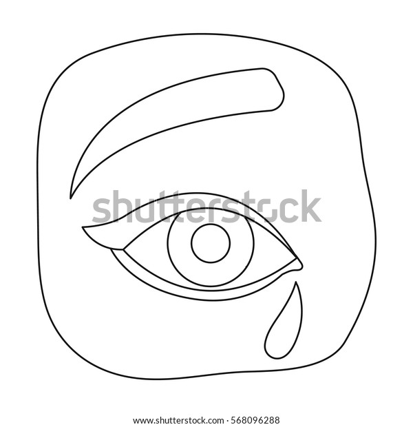 Weepping icon in outline style isolated on white background. Funeral ceremony symbol stock vector illustration.
