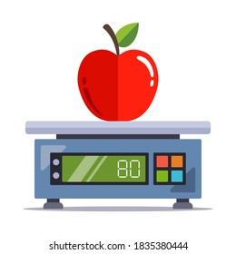 weigh an apple on an electronic scale in a store. flat vector illustration isolated on white background.