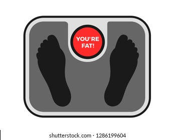 Weighing machine is doing offensive body shaming assault - fat and overweight person is accused of obesity. Footpring on the measuring device. Vector illustration