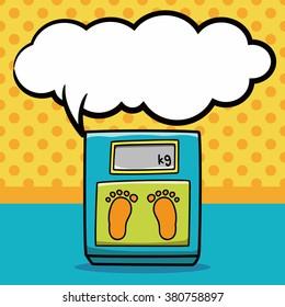 Weighing machine doodle, speech bubble