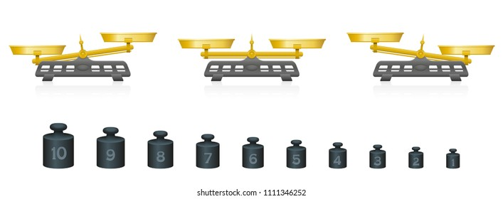 Weighing scale with equal and unequal weightiness and ten different weights from one to ten. Isolated vector illustration on white background.