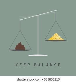Weighing scale, libra. Keep balance between bad and good things, positive and negative, sense of taste, motivational poster. Flat style vector illustration