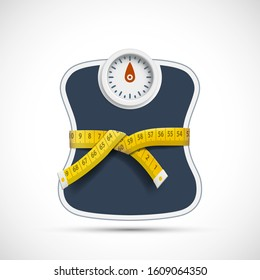Weighing scales with measuring tape. Weight loss concept. Vector illustration.