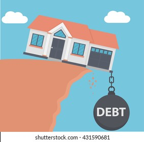 Weight of debt on a house pulling it down in the abyss. Flat style
