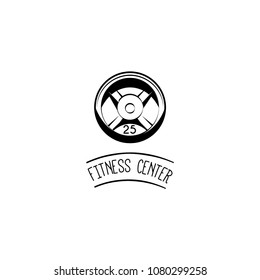 Weight disk icon. Weight plate. Fitness center logo label badge. Sport equipment. Vector illustration