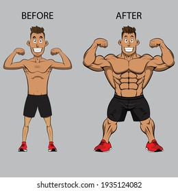 Weight gain. Man before and after exercise vector illustration. Man weight gain, muscular guy, skinny guy
