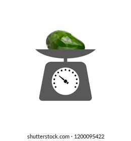 Weight icon. Scale sign. Low poly avocado. Polygonal illustration isolated on white background. Geometric fruit. Triangle avocado. Triangulation of a ripe avocado.