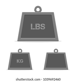 Weight icons, kilograms (kg), pounds (lbs) and empty. Vector illustration in modern flat style isolated on white background