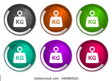 Weight kg kilogram symbol, set of silver metallic round icons in six colors options isolated on white background, modern design vector illustration