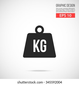 Weight kilogram icon. Black pictogram. Modern flat design vector illustration, new high quality concept for web banners, web site, infographics. Vector icon graphic art isolated on gradient background