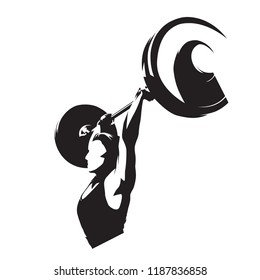 Weight lifter woman, strong girl lifting big barbell. Isolated vector silhouette. Weightlifting fitness logo