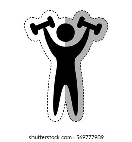 weight lifting athlete silhouette vector illustration design