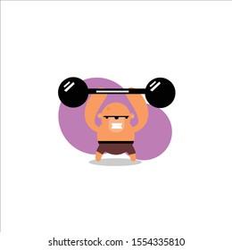 Weight Lifting Monkey Athlete. Vector Illustration