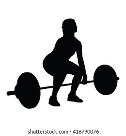 Weight lifting woman vector silhouette, fitness
