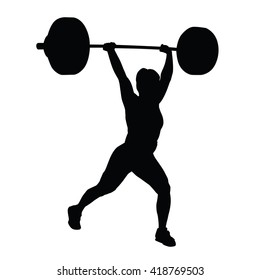 Weight lifting woman vector silhouette. Woman holds large dumbbell over head