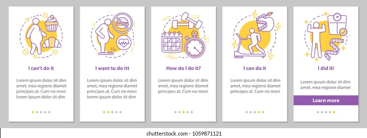 Weight lose steps onboarding mobile app page screen with linear concepts. Fighting obesity graphic instructions. UX, UI, GUI vector template with illustrations