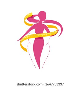 Weight loss concept - diet program logo (isolated icon) in form of abstract woman silhouette (fat and shapely figure) with measuring tape around