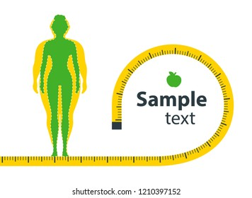 Weight loss. The influence of diet on the weight of the person. Young woman before and after diet and fitness. Weight loss concept. Fat and thin woman. Blank space for your content, template.