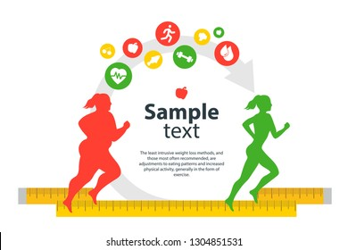 Weight loss. The influence of diet on the weight of the person. Man and woman before and after diet and fitness. Weight loss concept. Fat and thin man and woman. Blank space for your content, template