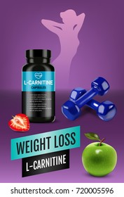 Weight loss L-Carnitine ads. Vector realistic illustration of cans with capsules with cellulose of strawberry and green apple. Vertical poster with product.
