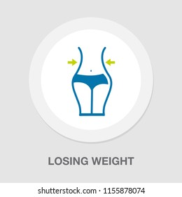 Weight loss line icon, fitness and sport, slim body with measuring tape sign vector graphics, healthy diet eps 10