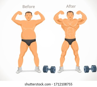 Weight loss. Man before and after fitness. Man weight loss, muscular guy after lose weight