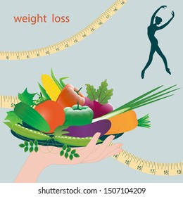 Weight loss - measuring tape , girl silhouette - hand holds a plate with fresh vegetables - vector. Healthy eating Body weight control.