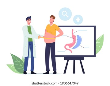 Weight Loss Medicine Concept. Surgeon Doctor Male Character Measuring Waist of Fat Man Prepare Patient for Bariatric Surgery Gastrectomy Procedure in Clinic. Cartoon People Vector Illustration